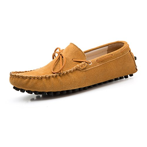 2017-2qianzong11 SUNROLAN Men's Casual Genuine Nubuck Leather Outdoor Boat Shoes Driving Moccasins Slip-On Loafers Light Brown US (Light Brown Nubuck Leather)