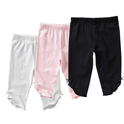 Otter MOMO Toddler Girls Capri Leggings 3 Pack Girl's Cotton Crop Leggings Pants with Ankle Bow (White/Pink/Black, 4T)