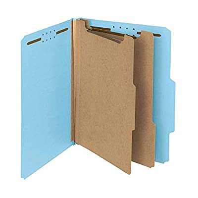 """Smead 100% Recycled Pressboard Classification File Folder, 2 Dividers, 2"""" Expansion, Letter Size, Blue, 10 per Box (14021)"""