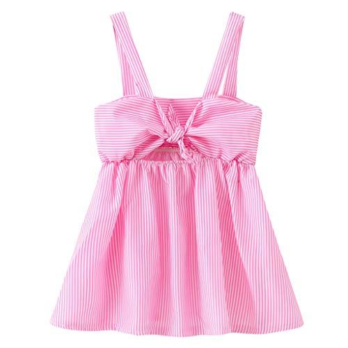 MOGOV Toddler Baby Kid Girls Summer Stripe Sling Bow Decoration Skirt Princess Dresses Casual Clothes Pink]()