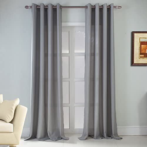RT Designers Collection Asbury Jacquard Grommet Single Curtain Panel, 54 x 90 in, Silver