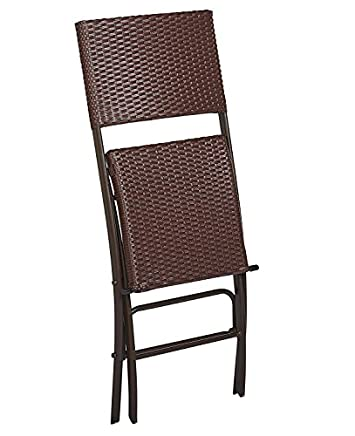 COSCO 87644DBR2E Outdoor Living INTELLIFIT 2 Pack Steel Woven Wicker High Top Folding Patio Bistro Stools, Dark Brown and Red Resin Wicker, Steel Frame