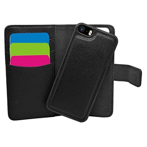 Samrick Etui portefeuille avec Crédit/Porte-Carte D'affaire en Cuir pour iPhone 5/5S/SE Noir