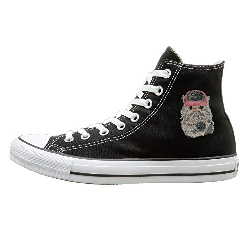 Buecoutes Cats Rule Canvas Shoes High Top Casual Black Sneakers Unisex Style 41