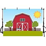 COMOPHOTO Red Barn Farm Photography Background Cows Grass Backdrops Photo Booth Shoot Blue Sky Props Warehouse Vinyl Cloth 7x5ft
