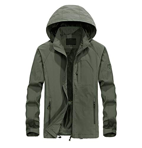 VICALLED Men's Military Lightweight Waterproof Softshell Jacket Solid Color Casual Outdoor Hooded Coat Army Green