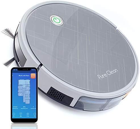 Pure Clean Robotic 진공 청소기 - 2000Pa 흡입 - 와이파이 모바일 앱 및 자이로스코프 매핑 - 초박형 3.0인치 높이 - 회전 고무 롤러 청소 하드 먼지 PUCRC660 그레이 / Pure Clean Robotic 진공 청소기 - 2000Pa 흡입 - 와이파이 모바일 앱 및 자...