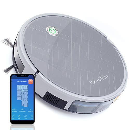 "Pure Clean Robotic Vacuum Cleaner-2000Pa Suction-WiFi Mobile App and Gyroscope Mapping-Ultra Thin 3.0"" Height-Rotating Under Squeegee Cleans Carpets and Hardwood PUCRC660, Grey"