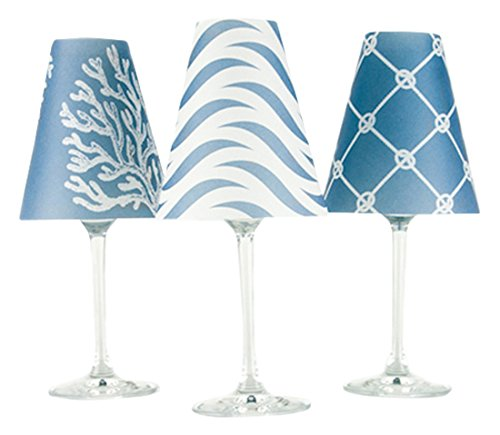 di Potter WS269 Caribbean Paper White Wine Glass Shade, Sea Blue (Pack of -