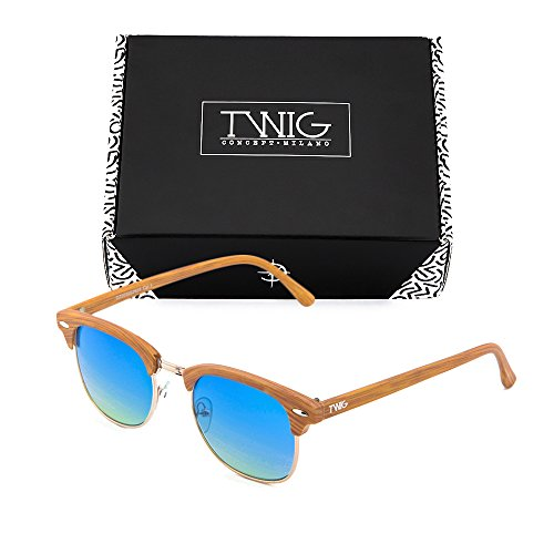 Degradado madera Gafas de hombre mujer TWIG sol Azul estilo DEGAS Chestnut x7xqPF4