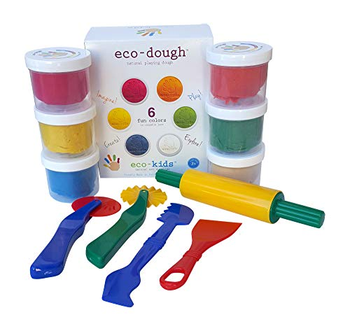 Natural Playing Dough in 6 Bright Colors With Sturdy 5 Piece Clay Tool Set
