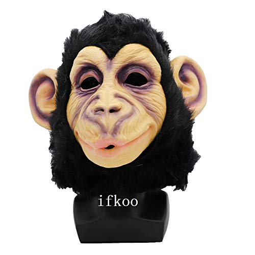 ifkoo Chimp Mask Rubber Creepy Monkey Gorilla Head Mask Halloween Party Costume Decorations