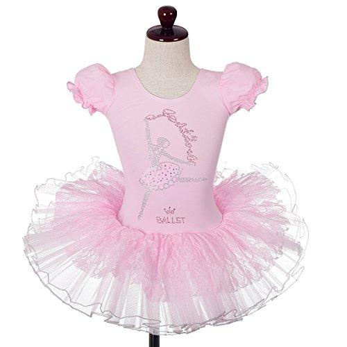 Daisy Ballet Tutu - Dressy Daisy Girls' Lace Rhinestone Ballet Tutu Dancewear Leotard Fairy Costume Size 6-7 Pink