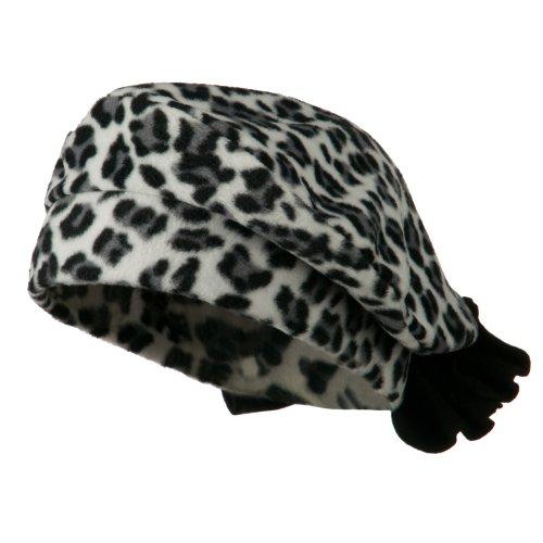 Jeanne Simmons Ladies Fashionable Bow Fleece Beret - Cheetah White OSFM