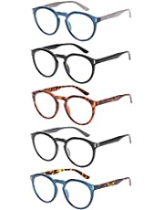 Reading Glasses 5 Pack Stylish Large Round Spring Hinge Readers for Men and Women