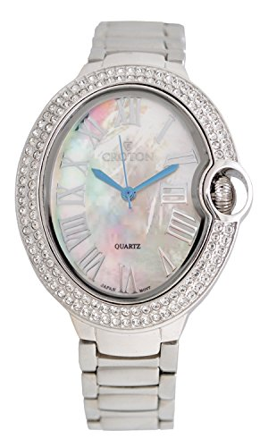 Croton Ladies Silvertone Quartz Watch with Crystal Bezel & Mother of Pearl Dial - CN207566RHMP (Croton Crystal Bezel)
