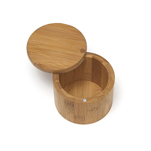 (Lipper International 8829 Bamboo Wood Salt or Spice Box with Swivel Cover, 3-1/2
