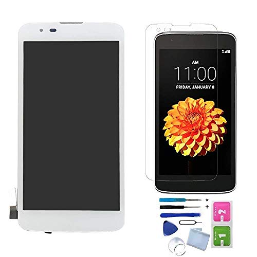 XR MARKET Compatible LG K7 Screen Replacement, LCD Display Touch Screen Digitizer Assembly, for Tribute 5 LS675 MS330, with Install Tools, Screen Protector(White W/Frame)