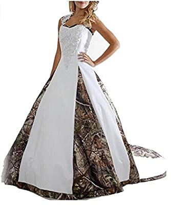 Angela Women's Appliques Ball Gown Long Camouflage Wedding Party Dress