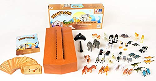 Noahs Ark Card Game - Noah's Ark Toy - Balancing Game Religious Stacking Educational Board Game with Animal Toy - 104 Piece Set