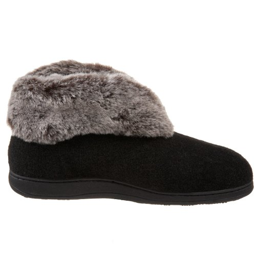 Women's Slipper Chinchilla Faux Acorn Bootie Black 1qd6wxna