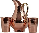 *NEW* CopperBull Heavy Gauge 100% Pure Solid Hammered Copper Moscow Mule Water Pitcher,70 fl. Oz. - Lidless with 2 Cups