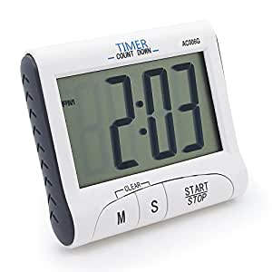 Konigswerk New Version! Large Display Electronic Digital Countdown and Count up Loud Alarm Kitchen Timer / Sport Stopwatches with Clock Function (Magnet and Stand) AC006G