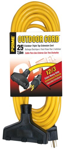 Prime EC600825 Extra Heavy Duty 25-Foot Outdoor Generator Extension Cord 3-Conductor Triple (Extension Cord 3 Conductor)