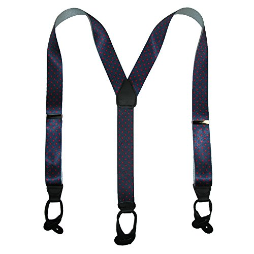 CTM Men's Silk Button-End 1 1/2 Inch Dots Suspenders, Navy with Red Dots (Silk Braces)