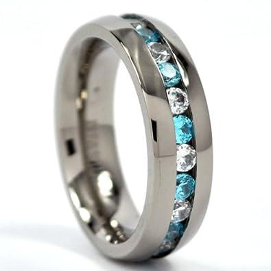 Amazoncom 6mm Eternity Ring Titanium Wedding Band w Blue Topaz