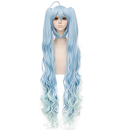 Vorwind Vocaloid Cosplay 2017 Hatsune Miku Twinkle Snow Ver. Double Horsetail Curly Wig Light Blue -