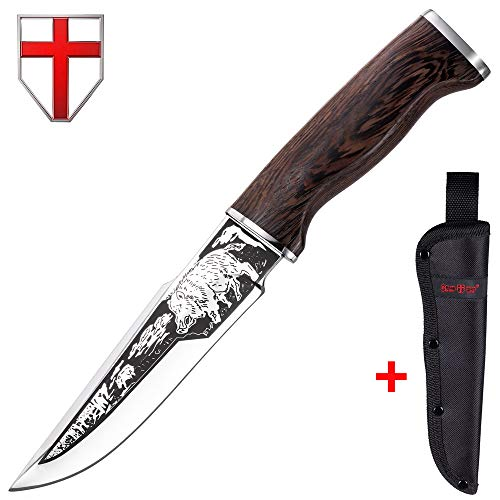 Grand Way Hunting Knife - Decorative Knife Fixed Blade - Large Hunting Long Knives with Sheath - Best 440c Stainless Steel Classic Big Sharp Fix Blades Hunting Knife with Wood Handle 2428 L-PR