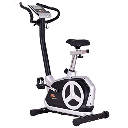Gymax Stationary Magnetic Resistance Exercise Bike w/ Phone Holder and Monitor, Indoor Flywheel Upright Cardio Cycling Bike Gymax