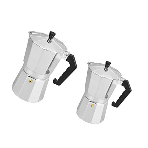 MonkeyJack 2 Pieces Homemade Moka Pot Aluminum Coffee Maker Coffee Cup Handmade 3 Cups&6 Cups by MonkeyJack