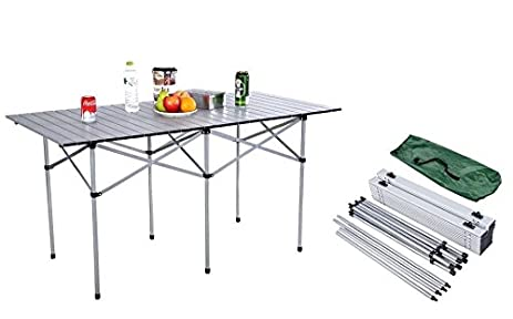 New 55u201d Aluminum Roll Up Camping Table Portable Carry Folding Picnic Table  With Bag Outdoor
