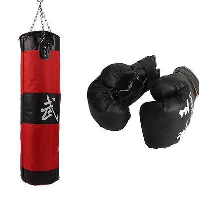 39'' MMA Boxing Heavy Punching Bag With Chain (Empty) + Boxing Gloves Black by Unknown