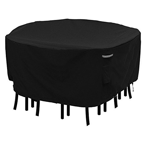 Round Patio Table and Chair Set Cover Durable and Waterproof Outdoor Furniture Cover(Black, 70