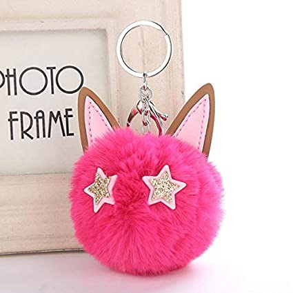 Amazon.com: Rarido 8CM Cute Cat Pompom Rabbit Fur Ball Key ...