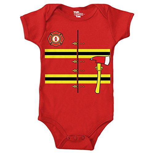 Tcombo Firefighter Costume Bodysuit (Red, Newborn) ()