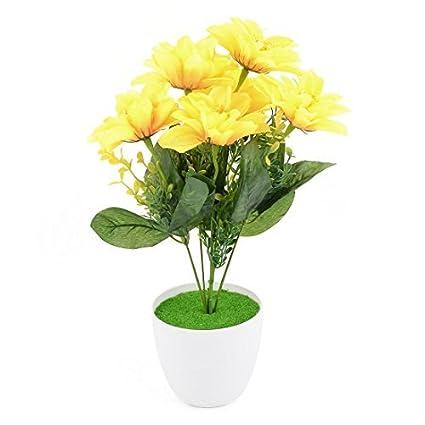 eDealMax Oficina plástico arte de DIY del ornamento de la simulación Artificial ramo de Flores amarillas