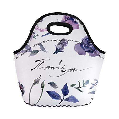 Semtomn Lunch Bags Age Painting Watercolor Halloween Day Purple Flowers on Rose Neoprene Lunch Bag Lunchbox Tote Bag Portable Picnic Bag Cooler Bag]()