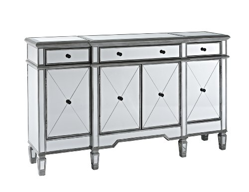 Powell Company Mirrored 4-Door 3-Drawer Console - Mirrored Buffet: Amazon.com
