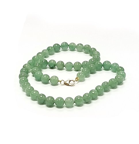 Regalia by Ulti Ramos 14K Yellow Gold 8mm Round Green Jade Necklace (24)