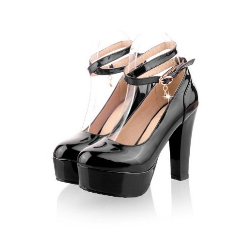 VogueZone009 Womens Closed Round Toe High Heel Platform Patent Leather PU Solid Pumps with Buckle Black rOv8D61U