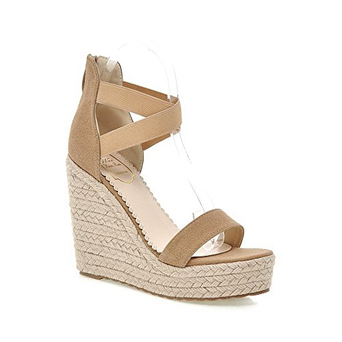 AllhqFashion Women's Open Toe Zipper Imitated Suede Solid High Heels Sandals apricot