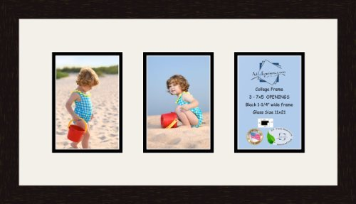 Art to Frames Double-Multimat-538-61/89-FRBW26061 Collage Frame Photo Mat Double Mat with 3-5x7 Openings and Espresso Frame