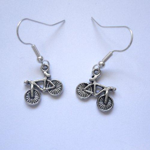 Vintage Silver Bicycle Earrings