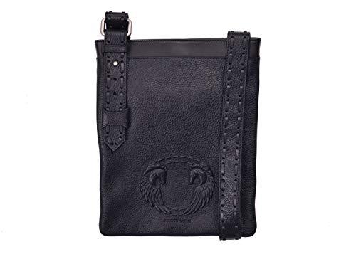 - Roberto Cavalli Mens Black Wing Horse Embossed Messenger Bag~RTL$1125
