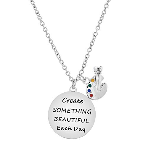 - ODLADM Paint Palette Girls Pendant Necklace Create Something Beautiful Each Day Necklace for Kids Jewelry