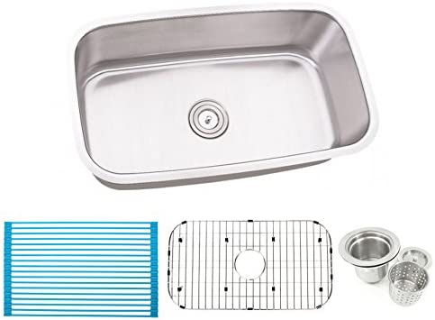 30 Inch Stainless Steel Undermount Single Bowl Kitchen Sink – 16 Gauge Free Accessories